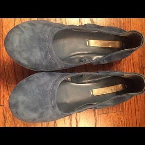 New BCBG Blue Suede Ballet Flats. Size 6.5/36.5